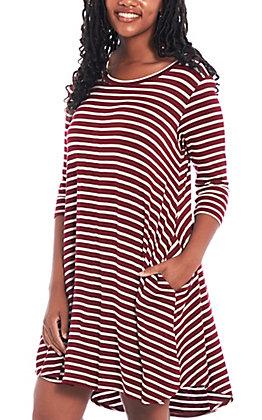 Umgee Women's Burgundy and Ivory Striped Dress