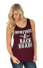 Lovely Souls Women's Maroon Bonfires & Back Roads Racer Back Tank