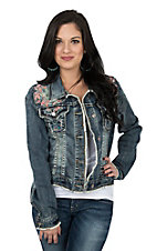 Grace in LA Women's Denim Embroidered Jacket