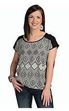Mezzanine Women's Black and White Aztec Print Top