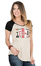 Lovely Souls Ladies Oatmeal with Texas License Plate Screen Print and Black Cap Sleeve Casual Knit Top