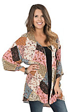 James C Women's Multi Colored Patchwork 1/2 Sleeve Kimono