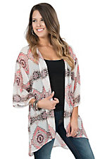James C Women's Pink and White Diamond Paisley Print 1/2 Sleeve Kimono