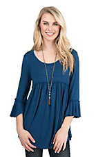 James C Women's Teal with Defined Waist 3/4 Bell Sleeve Tunic Fashion Top