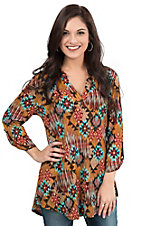 James C Women's Multi Colored Aztec Print 3/4 Sleeve Fashion Top
