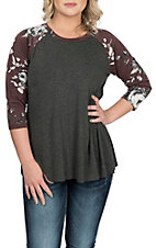 James C Women's Grey and Burgundy New Madeline Floral Sleeve Casual Knit Shirt