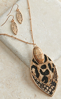 Amber's Allie Gold with Leopard Print and Stone Pendant Necklace and Earrings Jewelry Set