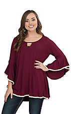 James C Women's Burgundy with Cream Crochet Details Long Bell Sleeve Fashion Tunic Top