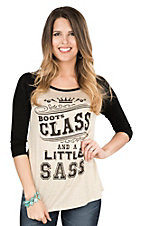 Lovely Souls Ladies Oatmeal with Black Screen Print Boots Class and a Little Sass and Black 3/4 Sleeve Casual Knit Top