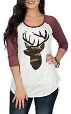 Lovely Souls Women's Ivory & Mauve Camo Deer 3/4 Sleeve Casual Knit Shirt