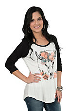 Lovely Souls Floral Skull with Black Sleeves Casual Knit Top