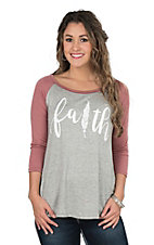 Lovely Souls Faith Feather Grey Causal Knit Top