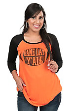Lovely Souls Women's Orange with Black Game Day Yall Football and Black Long Sleeves Casual Knit Top