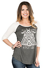Lovely Souls Ladies Charcoal with Ivory Gypsy Soul Screen Print 3/4 Sleeve Casual Knit Top