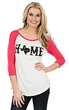 Lovely Souls Ladies Ivory with Black Home Screen Print and Coral 3/4 Sleeve Casual Knit Top