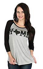 Lovely Souls Ladies Grey with Black Home Screen Print and Black 3/4 Sleeve Casual Knit Top