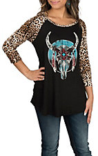Lovely Souls Women's Black & Leopard Print Skull Casual Knit Shirt