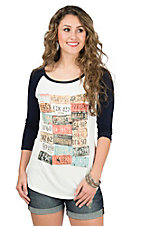 Lovely Souls Ladies Ivory with License Plate Design and Navy 3/4 Sleeve Casual Knit Top