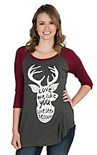 Lovely Souls Ladies Charcoal with Ivory Love Me Like You Love Deer Season and Burgundy 3/4 Sleeves Casual Knit Top