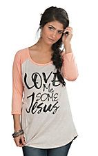 Lovely Souls Love Me Some Jesus with Peach Sleeves Casual Knit Top