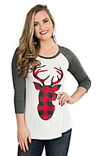 Lovely Souls Women's Ivory with Red and Black Plaid Deer Screen Print and Grey 3/4 Sleeves Casual Knit Shirt