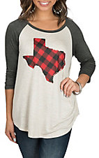 Lovely Souls Women's Oatmeal & Charcoal Plaid Texas 3/4 Sleeve Casual Knit Shirt