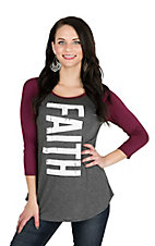 Lovely Souls Ladies Charcoal with Faith Screen Print and Burgundy 3/4 Sleeves Casual Knit Top
