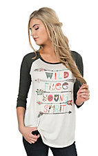 Lovely Souls Wild Free with Charcoal Grey Sleeves Casual Knit Top