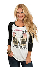 Lovely Souls Women's Ivory & Back Wild Heart Casual Knit Shirt