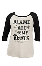 Lovely Souls Ladies Oatmeal with Black Screen Print Blame it All on My Roots and Black 3/4 Sleeve Casual Knit Top - Plus Size
