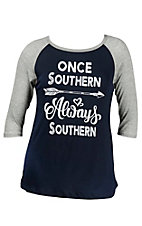 Lovely Souls Ladies Navy with Ivory Once Southern Always Southern Screen Print and Grey 3/4 Sleeve Casual Knit Shirt - Plus Size