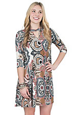 James C Women's Pink, Grey, and White Paisley Print 3/4 Sleeve Dress