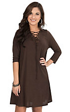 James C Women's Brown Lace Up with Grommets 3/4 Sleeve Dress
