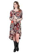 James C Women's Burgundy Floral Print Hi-Lo 3/4 Sleeve Dress