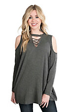James C Women's Charcoal with Criss Cross and Cold Shoulder Long Sleeve Casual Knit Shirt