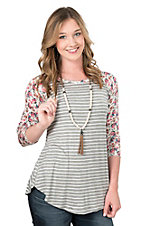 Lovely Souls Grey Stripe with Floral Sleeves Causal Knit Top