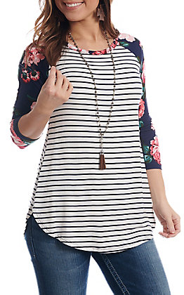 Lovely Souls Women's Striped With Floral 3/4 Sleeve Casual Knit Top
