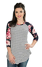 Lovely Souls Ladies White and Black Stripe with Floral 3/4 Sleeve Casual Knit Top