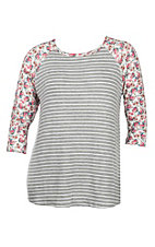 Lovely Souls Grey Stripe with Floral Sleeves Causal Knit Top - Plus Size