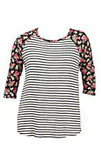 Lovely Souls Ladies White and Black Stripe with Floral 3/4 Sleeve Casual Knit Top - Plus Sizes