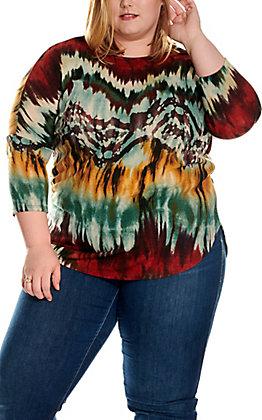 James C Women's Burgundy, Teal & Gold Tie Dye 3/4 Dolman Sleeves Fashion Top - Plus Sizes