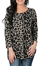 James C Women's Heather Grey Animal Print Long Sleeve Fashion Shirt