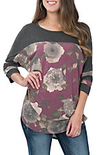 James C Women's Grey & Burgundy Floral Casual Knit Shirt