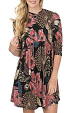James C Women's Black and Blush Peacock Feather Print Dress