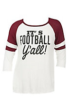 Lovely Souls Women's White with It's Football Yall Screen Print and Maroon Shoulders on 3/4 Sleeves Casual Knit Top - Plus Size