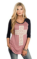 Lovely Souls Women's Mauve/Navy Crochet Cross 3/4 Sleeve Casual Knit Shirt