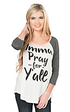Lovely Souls Ladies White with Imma Pray For Yall Screen Print and Charcoal 3/4 Sleeves Casual Knit Top