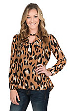 Peach Love Women's Brown and Black Leopard Print with Keyhole and Long Cinched Sleeve Fashion Top