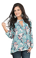 Fantastic Fawn Women's Sage Floral Print with Keyhole Details Long Sleeve Fashion Top