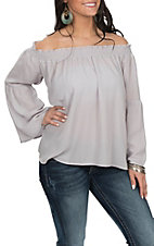 Berry N Cream Slate Grey Off the Shoulder Fashion Shirt